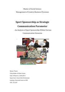 Sport Sponsorship as Strategic Communication Parameter