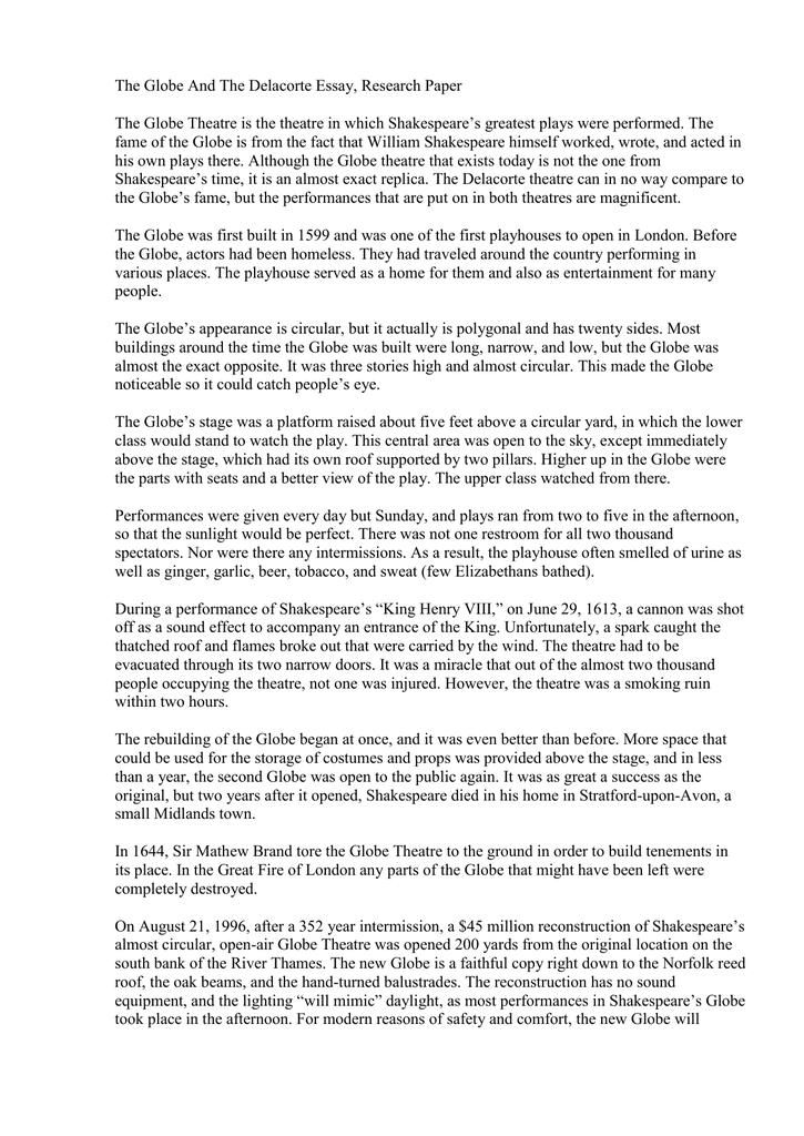 short note on globe theatre