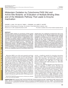 Midazolam Oxidation by Cytochrome P450 3A4 and Active