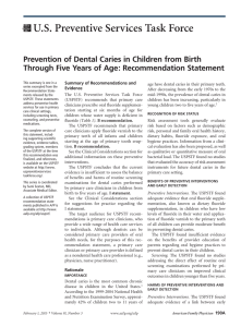 Prevention of Dental Caries in Children from Birth Through Five