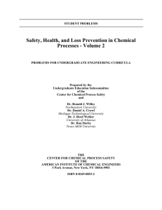 SACHE Problem Set Volume 2 - Safety and Chemical Engineering