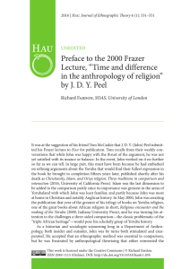 "Preface to the 2000 Frazer Lecture, ""Time and difference in the"
