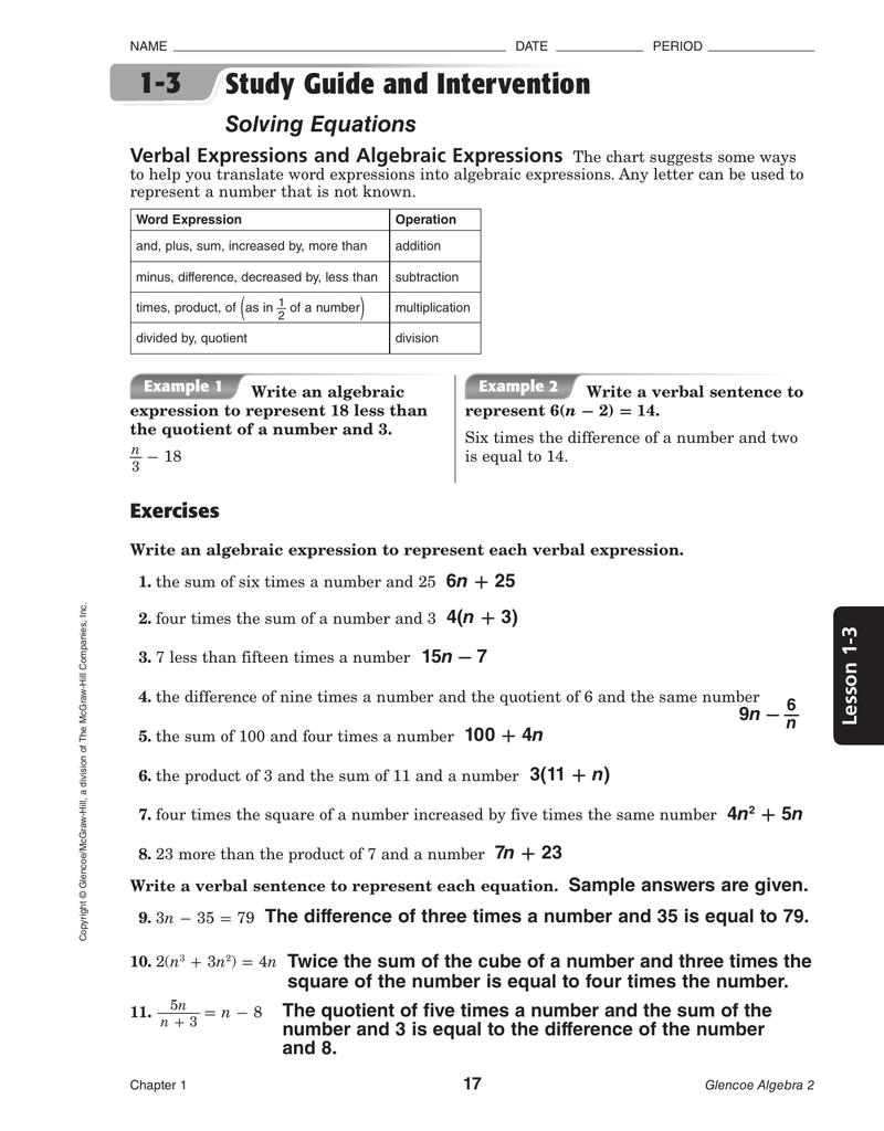 1-3 Study Guide and Intervention Solving Equations