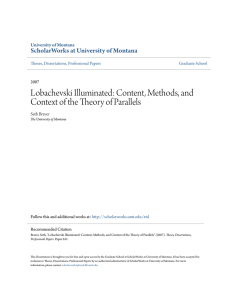 Content, Methods, and Context of the Theory of Parallels