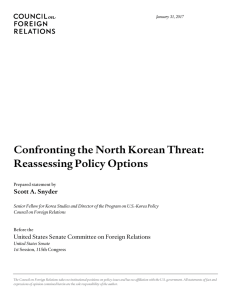 Confronting the North Korean Threat: Reassessing Policy Options