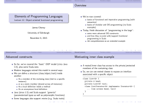 Elements of Programming Languages Overview Advanced