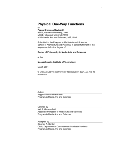 Physical One-Way Functions - MIT Center for Bits and Atoms