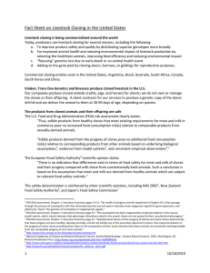Fact Sheet on Livestock Cloning in the United States