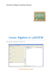 Tutorial: Linear Algebra In LabVIEW