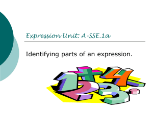 Parts of an Expression