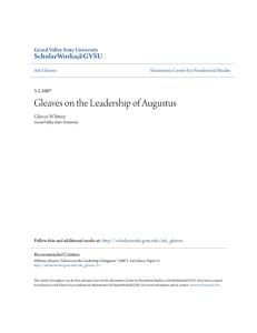 Gleaves on the Leadership of Augustus