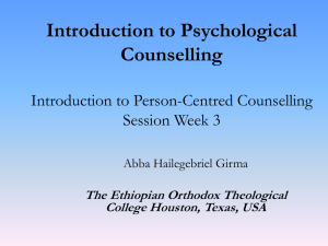 Person-Centred Counselling - Abba Hailegebriel Girma, PhD