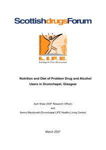 Nutrition and Diet of Problem Drug and Alcohol users in Drumchapel