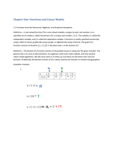 Section 1.1: Functions from the Numerical, Algebraic, and Graphical