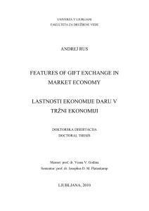 Features of gift exchange in market economy - Dela FDV