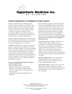 PATIENT ORIENTATION TO HYPERBARIC OXYGEN THERAPY