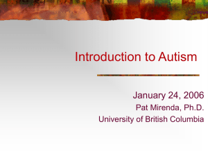 Introduction to the Autism Spectrum Disorders