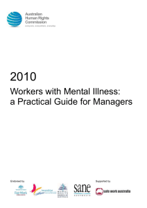 2010 Workers with Mental Illness: a Practical Guide for Managers