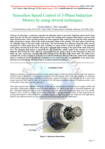 Sensorless Speed Control of 3-Phase Induction Motors by using