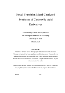 Novel Transition Metal-Catalysed Syntheses of Carboxylic Acid