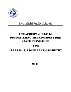 Bloomfield Prioritized CCSS Grades 9