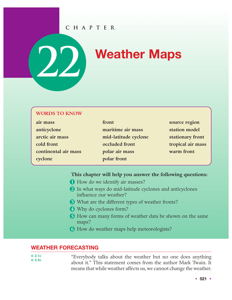 Stationary Front On A Weather Map.Chapter 22 Weather Maps Regents Earth Science Bhsa