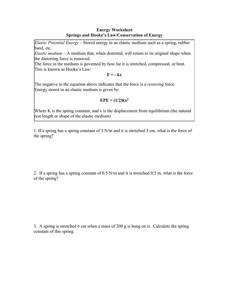 Law Of Conservation Of Energy Worksheet Promotiontablecovers