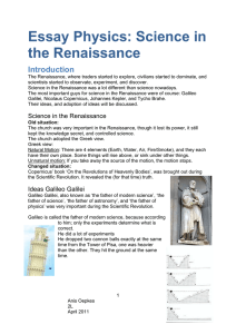 Essay Physics: Science in the Renaissance