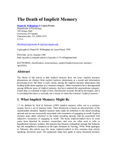 The Death of Implicit Memory