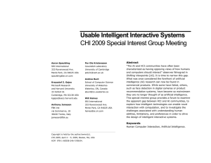 Usable Intelligent Interactive Systems
