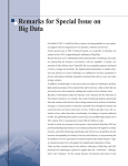 Remarks for Special Issue on Big Data