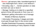 Memory: get sensory data, translate/organize it into meaningful form