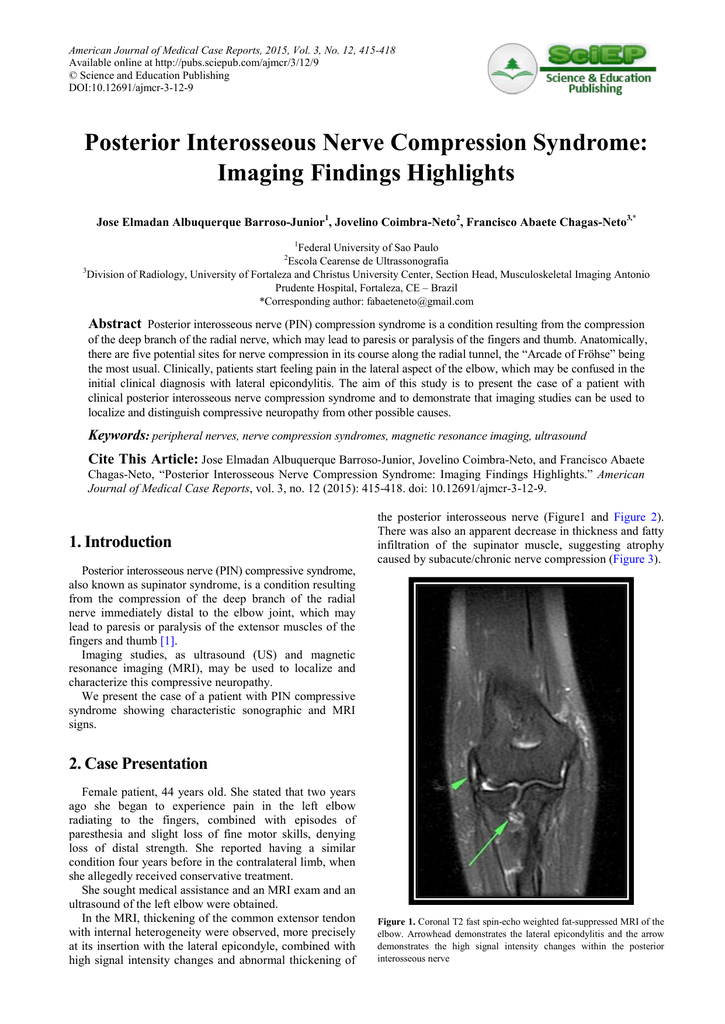 Posterior Interosseous Nerve Compression Syndrome: Imaging