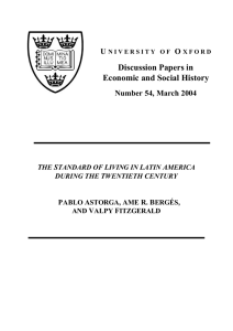 The Standard of Living in Latin America During the Twentieth Century
