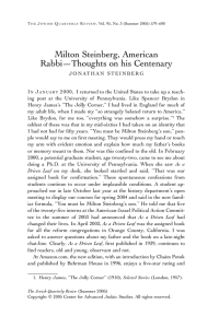 Milton Steinberg, American Rabbi—Thoughts on his Centenary