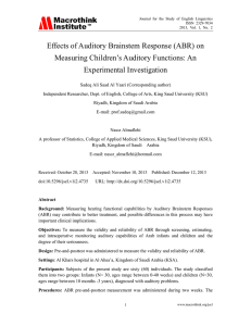 Effects of Auditory Brainstem Response (ABR) on Measuring