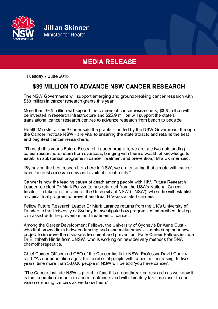 39 million to advance NSW cancer research