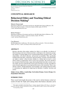 Behavioral Ethics and Teaching Ethical Decision Making<link href