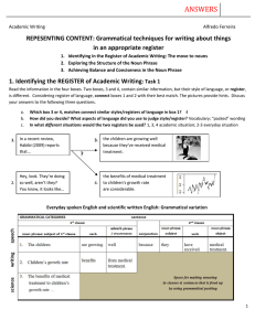 A PDF that focuses on academic writing and noun phrases