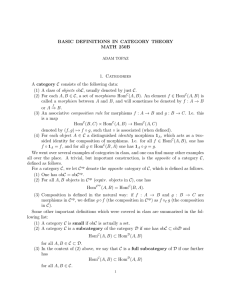 BASIC DEFINITIONS IN CATEGORY THEORY MATH 250B 1