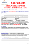 SunFest 2016 APPLICATION FORM SECONDARY SCHOOL BANDS