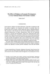 The Effect of Religion on Economic Development: A Cross National