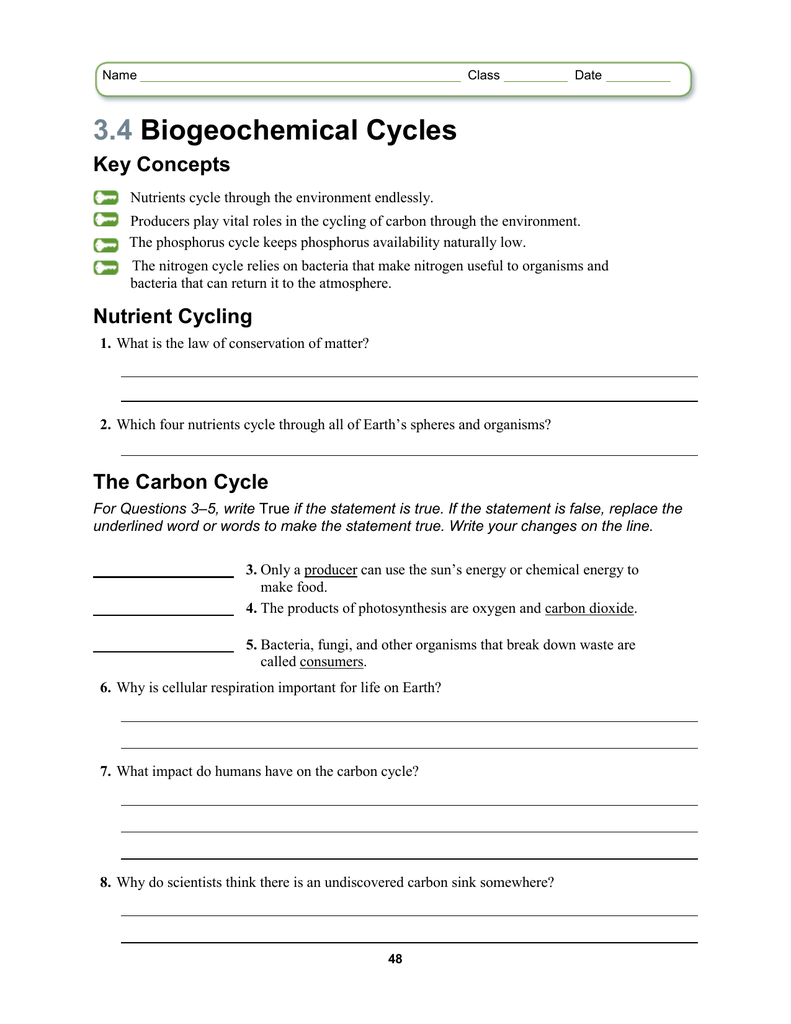 Lesson 34 Worksheet – Water Carbon and Nitrogen Cycle Worksheet Answers