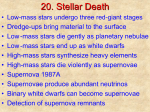 Chapter 20: Stellar Evolution: The Death of Stars PowerPoint