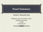 Panel Summary - Stanford University