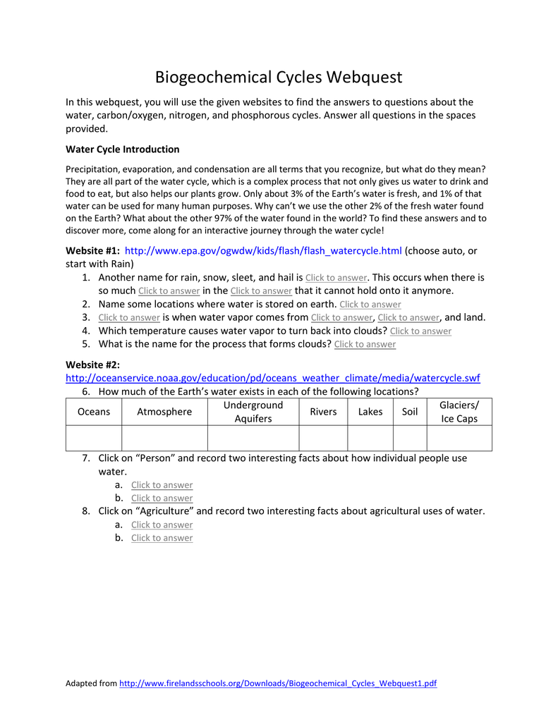 WebQuest Cycles File – Water Carbon and Nitrogen Cycle Worksheet Answers