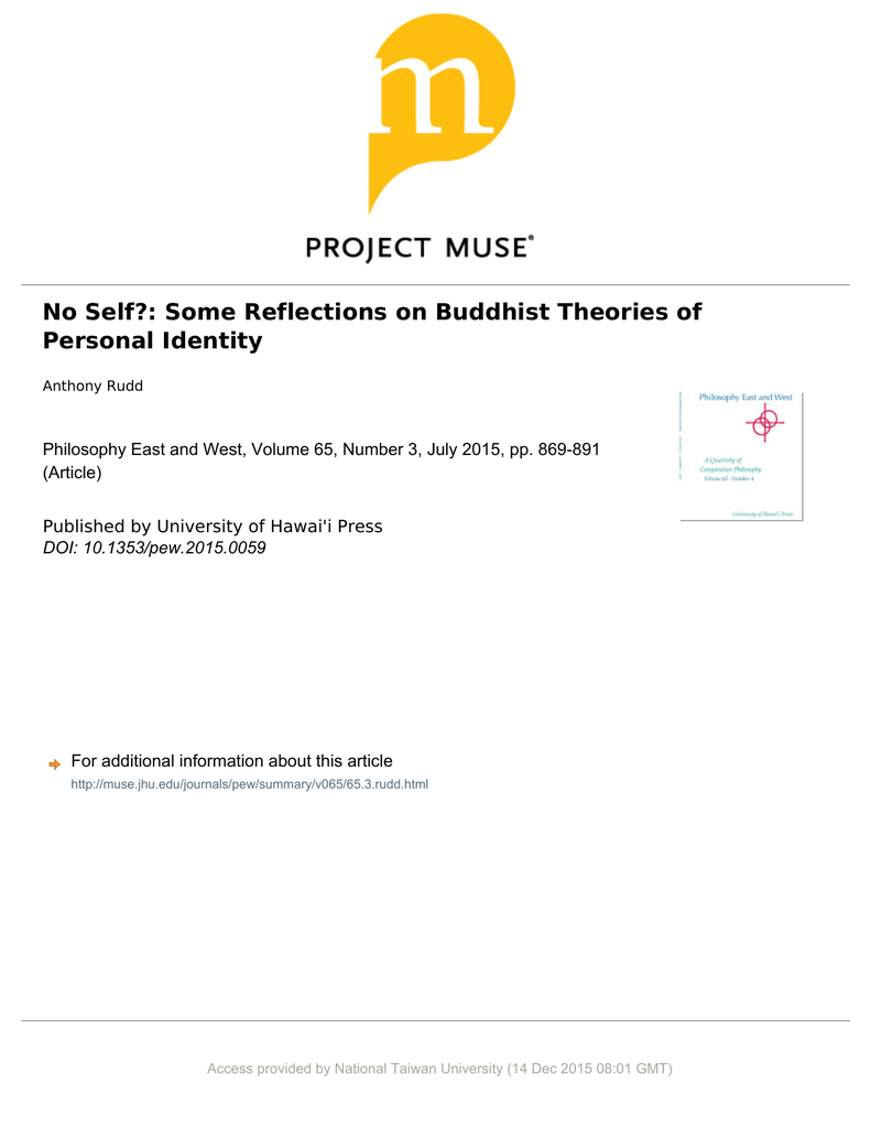 No Self Some Reflections On Buddhist Theories Of Personal Identity