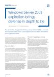 PDF Windows Server 2003 expiration brings defense in depth to life
