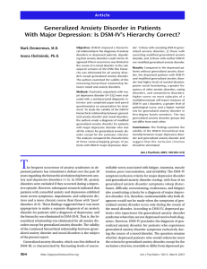 Generalized Anxiety Disorder in Patients With Major Depression: Is