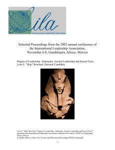 Selected Proceedings from the 2003 annual conference of the